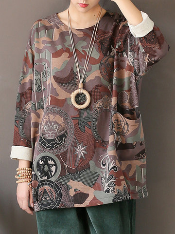 Ethnic Print Loose Long Sleeve O-neck Blouses For Women