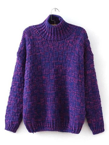 Casual High Collar Long Sleeve Loose Pullover Sweater
