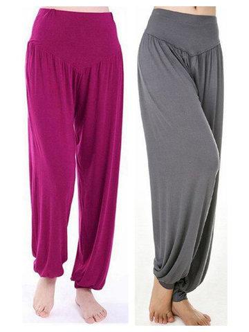 Уютные свободные танцевальные брюки для фитнеса Дышащие чистые цвета Йога для тренировки для женщин
