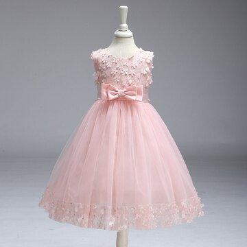 Stereoscopic Flower Bowknot Sleeveless O-neck Princess Dress For Kids Girls