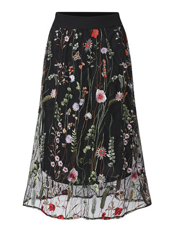 Elegant Women Flower Embroidery Elastic Waist Chiffon Skirt