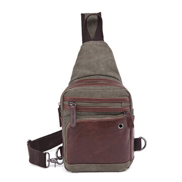 Men Canvas Casual Travel Outdoor Shoulder Bag Crossbody Chest Bag
