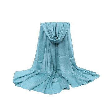 Women Solid Color Silk Scarf Soft Long Warm Wrap Shawl Scarves Stole