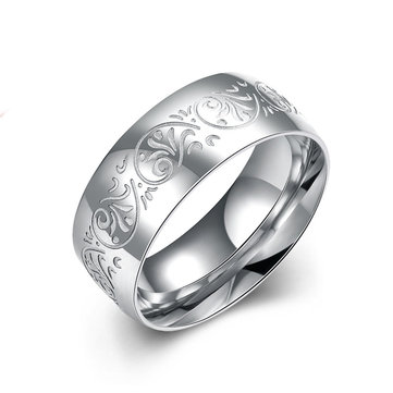 Simple Men's Ring Pattern Carved Silver Ring
