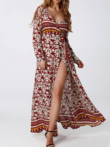 Floral Split Hem V-neck Long Sleeve Women Maxi Dress