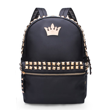 Women Rivet Crown PU Leather Backpack