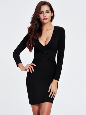 Women Sexy Twist Bodycon Long Sleeve Mini Dress