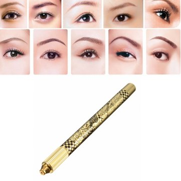 Manual Eyebrow Tattoo Pen Microblading Stainless Steel Gold Eye Brow Makeup Pencil