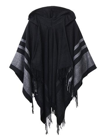 Stripe Printed Tassel Hem Hoodie Casual Women Cardigan