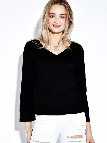 Sexy Long Sleeve V Neck Pure Color T-shirt For Women