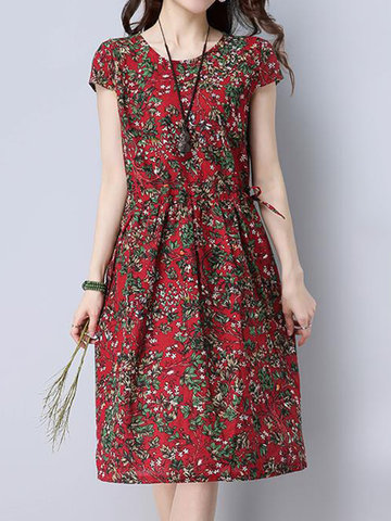 Vintage Women High Waist Floral Printed Short Sleeve Dresses