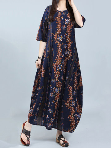 Gracila Vintage Floral Print Half Sleeve O-neck Maxi Dress For Women