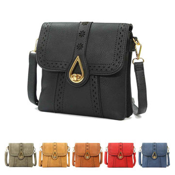 Women Retro Messenger Metal Buckle PU Leather Shoulder Bag Crossbody Bag