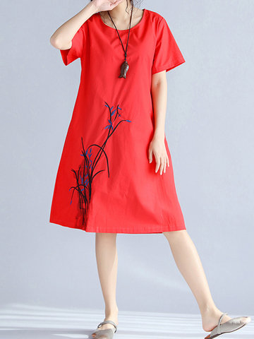 Women Embroidered Short Sleeve Summer Vintage Dresses