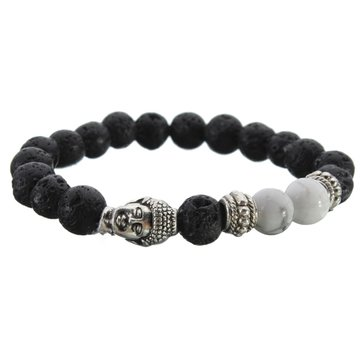Black Lava Rock Silver Buddha Head Bead Bracelet