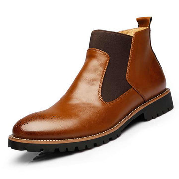 Men Vintage Pointed Toe Hollow Out Genuine Leather Elastic Panels Boots