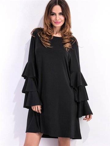 Casual Flouncing Loose Long Horn Sleeve O-neck Dress For Women