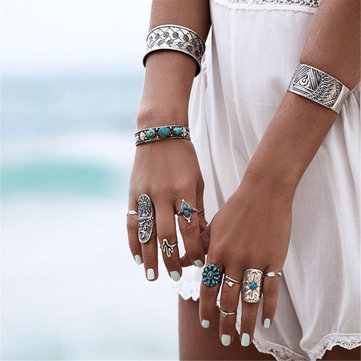 9pcs Vintage Bohemian Alloy Geometric Punk Unique Rings