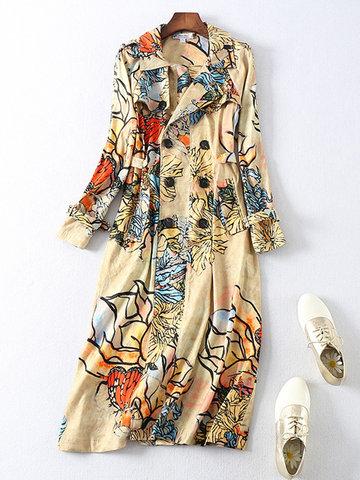 Цветочные печатные пальто с длинным рукавом