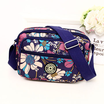Women Casual Oxford Printing Zipper Shoulder Bags Crossbody Bags
