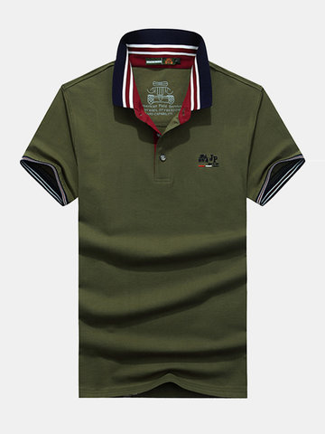 Mens Solid Color Casual Cotton Tops Turn-down Collar Short Sleeve Business Polo Shirt
