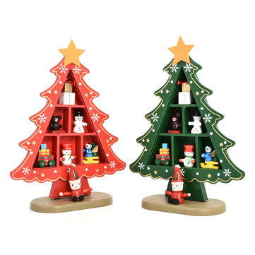 Outdoor lighted christmas decorations fashion online sale at newchic diy cartoon wooden artificial christmas tree decorations wood mini christmas trees table decoration aloadofball Choice Image