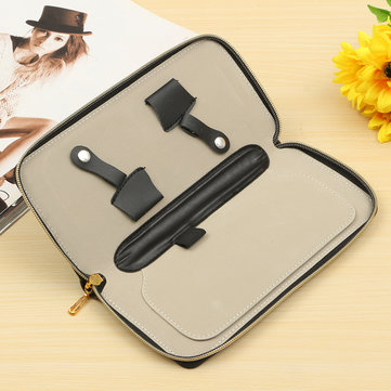 Barber Scissors Case Hairdressing Shears Holder Pouch PU Leather Zipper Bag
