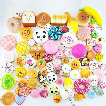 10PCS Discount Package 5 Simulate Fruit Bread and Panda Squishy Toys Fragrant Decompression Toys