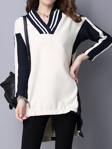 Women V-neck Long Sleeve Side Zipper Irregular Knit Sweater