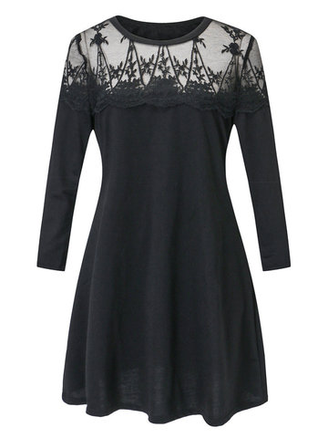 Casual Lace Patchwork Long Sleeve O-neck Women Dresses