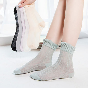 Women Cotton Ultra-Thin Solid Pure Color Ice Silk Mesh Breathable Lace Pine Ankle Socks