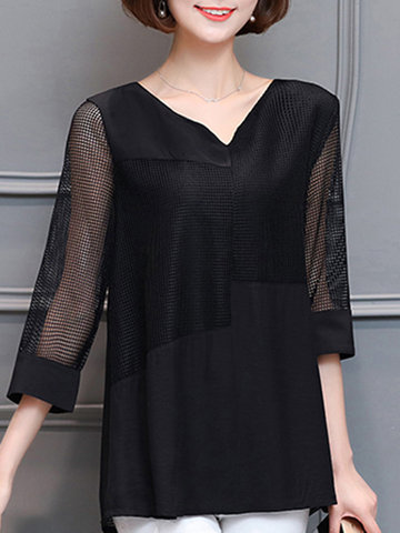 Mesh Patchwork Two-Layer Tops