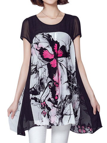 Elegant Printed Patchwork Chiffon T-shirt For Women