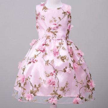 Flower Sleeveless O-neck Princess Dress For Kids Girl
