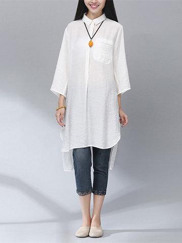 Women Vintage Cotton High Low Long Sleeve Lapel Long Blouse