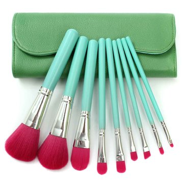 9 Pcs Makeup Brushes Foundation Blush Eyeshadow Cosmetic Brush With Bag 4 Colors