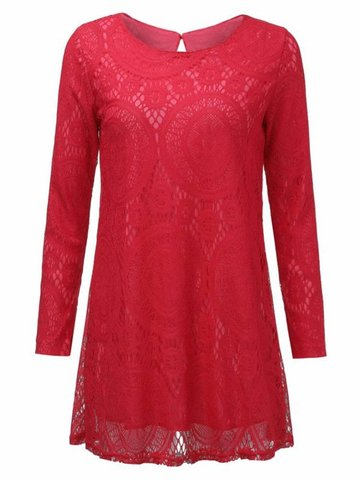 Casual Loose Pure Color Lace Long Sleeve Round Neck Dress