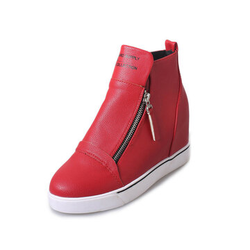 Double Zipper Letter Wedge Heel Ankle Pure Color Boots
