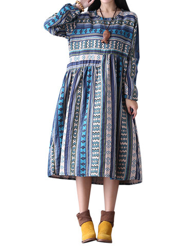 O-Newe Plus Size Women Geometric Patterns Printed Stripe Midi Dress