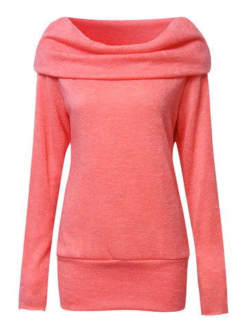 Women Pure Color Pile Collar Long Sleeve T-shirt