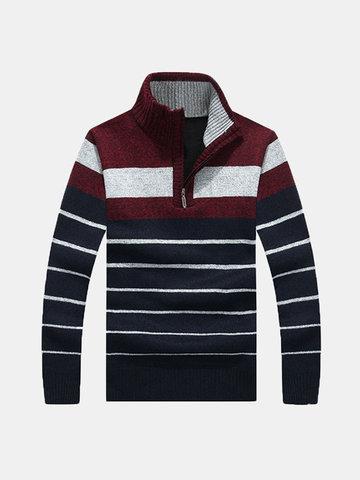 Мужские повседневные полоски из флиса Толстые теплые полужизни Стенд с воротником Трикотажные свитера
