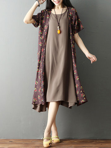 Vintage Solid Sleeveless Dress Floral Printed Cardigan Women Two Pieces Dress