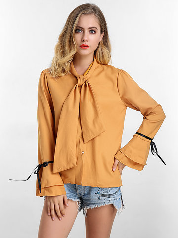Solid Bow Tie Flare Sleeve Blouse
