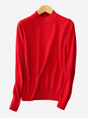Casual Pure Color Turtleneck Long Sleeve Women Sweaters
