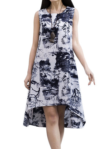 Vintage Women Floral Sleeveless High Low Cotton Linen Dress