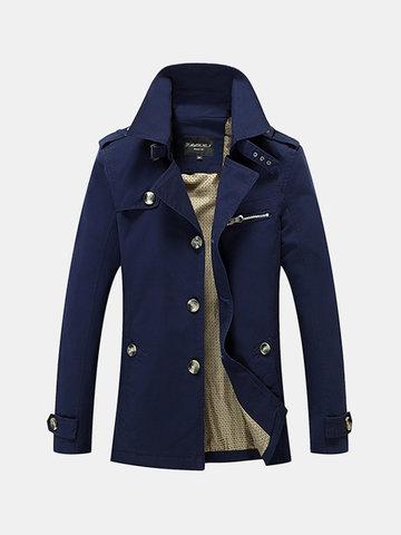 5XL Большой Размер Повседневные Длинные Промытые Хлопок Пальто Куртки для мужчин