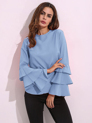 Elegant Trumpet Sleeve Ruffled Pure Color Shirt For Women