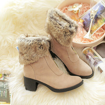 Big Size Zipper Folded Fur Ankle Chunky Heel Knight Boots