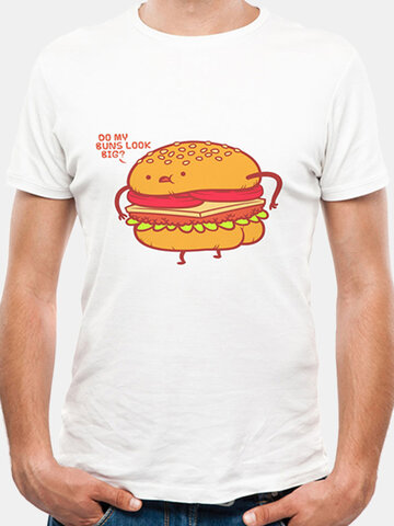 Mens Summer Creative 3D Hamburger Printed O-neck Short Sleeve Casual T-shirt