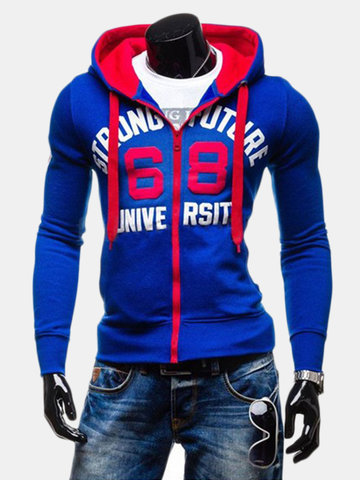 Men's Casual Winter Cap Hit in the Chest Color Printing Cotton Lining Hoodies Sweatshirts